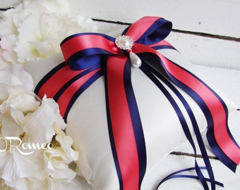 Romantic Bling Bow Tie Wedding Ring Bearer Pillow - Choose Your Own Color