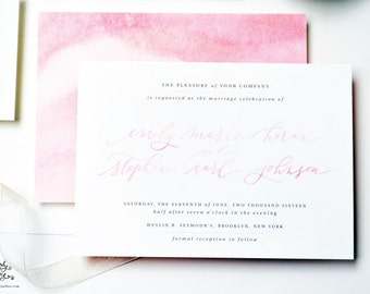INVITATION SAMPLE The Haven Suite - Pink Watercolor Calligraphy Wedding Invitation - Heirloom Wedding Invitations by Sincerely, Jackie