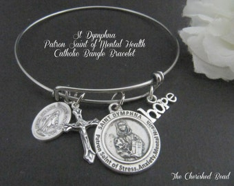 St. Dymphna Patron Saint of Mental Health, Stress, Anxiety Catholic Stainless Steel Bangle Bracelet