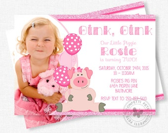 Pig Birthday Invitation, Pink Pig Party, Glitter Invitation, Photo Birthday Invitation, Girl Birthday Invitation, Pink Polka Dots