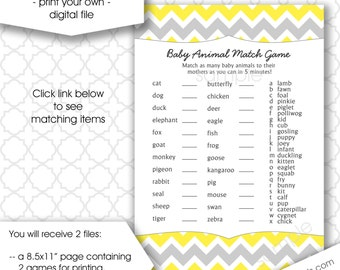 Baby Animal Match Name Baby Shower Game, who's my mama, instant download neutral gender yellow gray chevron printable games DIY, printable