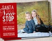 "Photo Christmas Card, New Address Card: PRINTABLE (""Santa has a new stop this year"" We Moved Christmas card)"