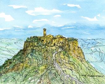CIVITA DI BAGNOREGIO Italy art print from an original  watercolor painting