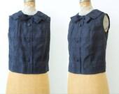 Vintage Black Plaid Top/Ribbon bow/Audrey Hepburn style/Sleeveless/Small