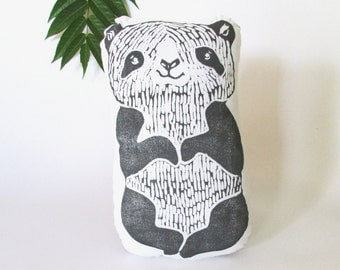 Plush Panda Pillow. Hand Woodblock Printed. Choose Any Color. Made to Order. 1-2 weeks.