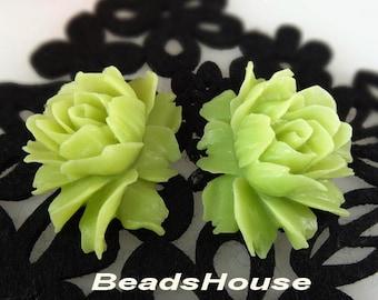 34-00-CA 2pcs Hight Quality Cabbage Rose Cabochon - Khaki