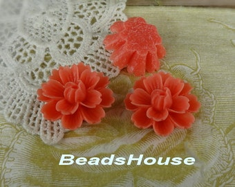 710-00-CA   4pcs ( 18mm x 27mm) Beautiful  Chrysanthemum Resin Flower Cabochons-Coral