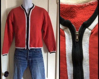 Vintage 1950's zipper Cardigan Cotton Sweatshirt Red Black White looks size Medium