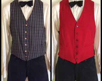 Vintage McGregor Reversible Vest Plaid and Bright Red thin Corduroy sides size 42 Buckle Back