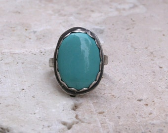 Sleeping Beauty Blue Turquoise Sterling Silver Oxidized Boho Southwestern Tribal Statement December Birthstone Ring
