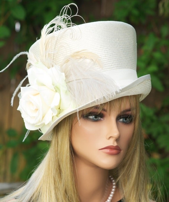 Wedding Hat, Ascot Hat, Derby Hat, Women's Cream Ivory White Hat, Victorian Riding Hat, Formal Straw Hat with Feathers. Top Hat, Mad Hatter