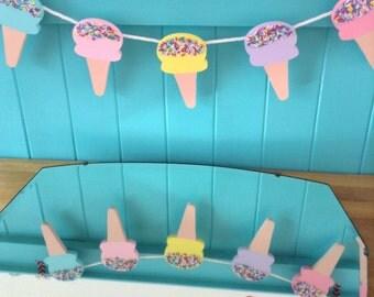 Icecream Garland, Wooden Icecream Garland,  Icecream Bunting, Bunting, Icecream. PASTEL ICECREAMS