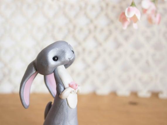 Grey Rabbit Figurine by Bonjour Poupette