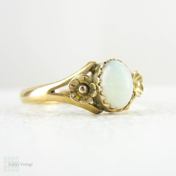 RESERVED. Vintage Opal Ring, Opal Single Stone Ring with Flower Accents in 22 Carat Yellow Gold, Circa 1940s.