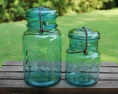 Set of Two Blue Mason Wire Side Canning Jars, One Quart and One Pint Jar.