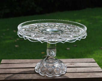 Vintage L E Smith Moon and Stars Clear Crystal Cake Stand, Cake Plate, Pastry Stand, Excellent.