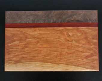 Serving Board - Curly Cherry, Walnut & Bloodwood