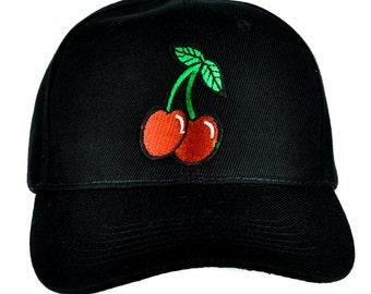 Rockabilly Double Cherries Black Baseball Cap Hat - DYS-PA-242-CAP