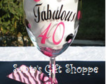 Fabulous 40 Vinyl Decal - Birthday Decal - Happy Birthday - GLASS NOT INCLUDED