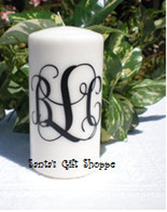 Fancy 3 Letter Monogram  for Candle (CANDLE NOT INCLUDED) or any smooth surface - Vinyl Decal - Wedding - Home Decor - Custom Gift