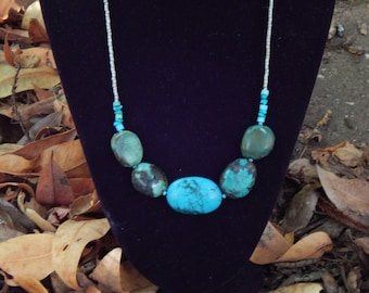 Blue and GreenTurquoise with silver beads necklace- OOAK