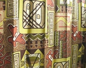 Four Vintage Barkcloth Curtain Panels - Cotton Fabric Yardage - Biomorphic Abstract Geometric - Neutral Olive Terra Cotta Window Hangings