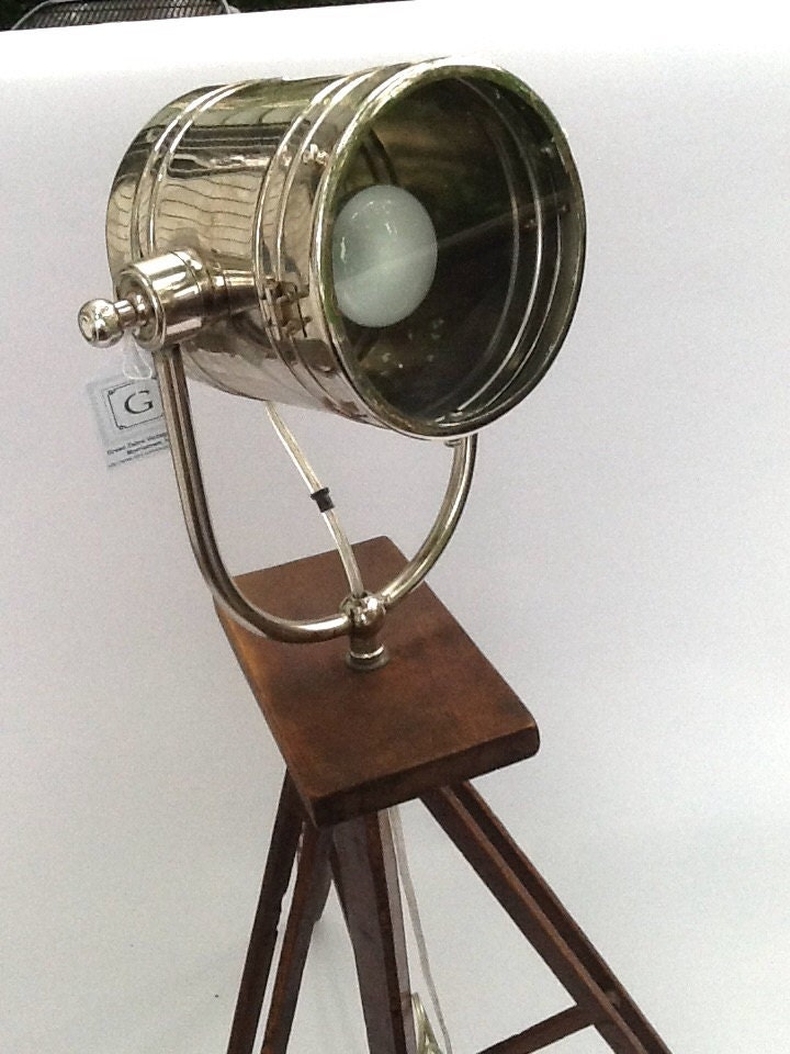 Vintage tripod camera floor lamp spotlight tripod custom - Tripod spotlight lamp ...