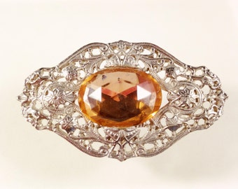 Art Deco Brooch, Vintage Jewelry, Art Deco Jewelry, Pink Brooch, Large Vintage Brooch, Pink Vintage Pin, Vauxhall Glass, Rhinestone Brooch