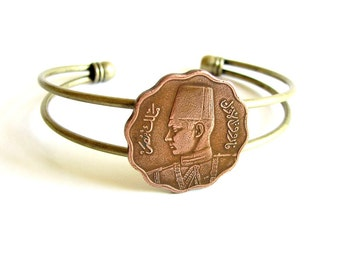 Egypt coin cuff bracelet . Egyptian coin bracelet . coin jewelry . adjustable cuff . womens jewelry . world coin bracelet