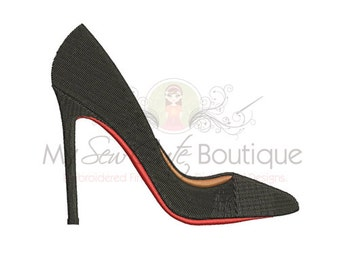 Stiletto Shoe Embroidery Design - 8 Sizes - Instant Download