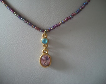 1928 Company Purple Bead Necklace with Purple and Blue Pendant