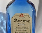 LARGE beautiful old Cobalt BLUE colored One Pint quack medicine bottle of ELIXIR from Jersey City