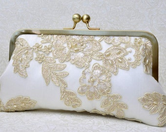 Gold Lace Pearl Bridal Clutch, Champagne Bridal Clutch, Ivory Formal Purse, White Clutch, Lace Wedding {French Lace & Pearl Bridal Kisslock}