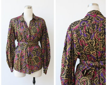 1980's vintage Adrianna Papell  SILK blouse, gold tread multicolored black silk top, purple magenta and gold pleated blouse