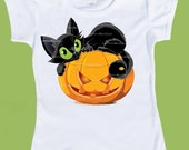 Halloween T-Shirt,Black Cat on Pumpkin, Baby One Piece Halloween, 1st Halloween outfit, Girls Halloween Tank tshirt by ChiTownBoutique.etsy