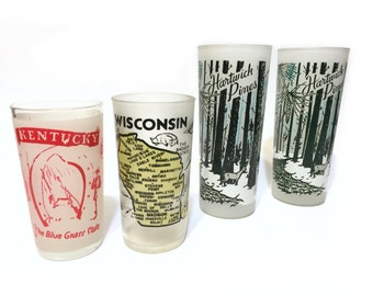 Vintage Glasses, Frosted Glasses, Souvenir Glasses, Hartwick Pines, Kentucky Glass, Wisconsin Glass, Hazel Atlas, Instant Collection