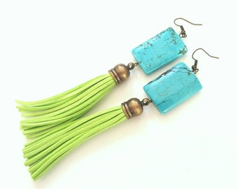 Turquoise statement earrings - lime green tassel earrings- turquoise- boho gypsy dangle earrings