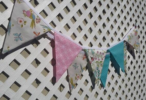 Love birds banner nursery fabric banner bird nursery pink for Bird nursery fabric