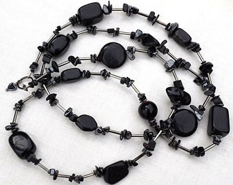 Long Black Stone Necklace, Summer Statement Necklace, Bohemian Jewelry, Hematite Nuggets. Sophisticated Elegant Jewelry. Birthday Gift