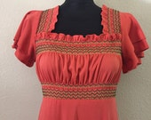 Vintage boho smocking dress