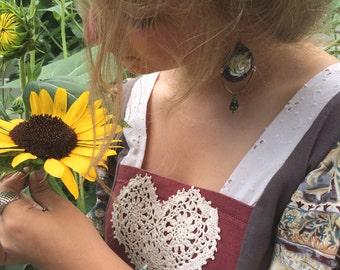 Rose leather EARRINGS, artisan earrings, mixed media earrings, gypsy earrings, tear drop earrings,leather earrings, hippy earrings Zasra