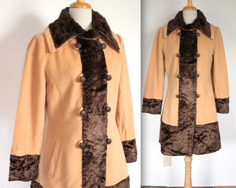 Vintage 1960s Coat // 60s Tan Wool Coat with Brown Faux Fur Collar and Cuffs // Mod