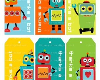 Robot Thanks a Bot Tags - Printable PartyTags - DIY - Robot Party