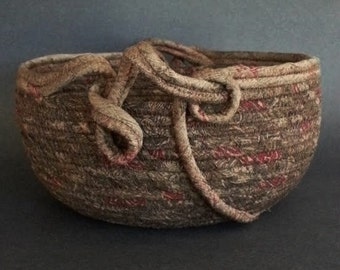 Treasury Item, Autumn Harvest, brown silk basket, coiled fabric basket