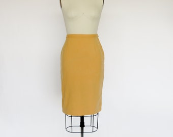 Vintage 1950s Skirt 1960s Skirt / Wool Skirt Pencil Skirt  / Size S