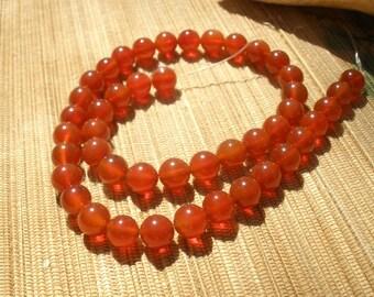 Carnelian red agate 8mm gemstone bead strand