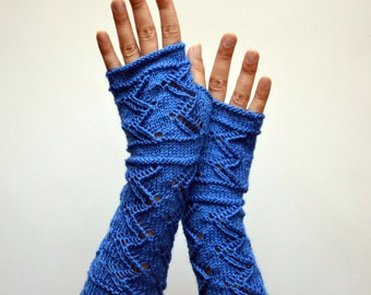 Long Lace Knit Fingerless Gloves - Blue Lace Fingerless Gloves - Fall Gloves - Feminine Fingerless - Gift nO 107.