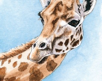 Original ACEO Giraffe ACEO Art Card Watercolor ACEO Giraffe Painting Collectible Art Miniature Art Unframed Art Wildlife Art
