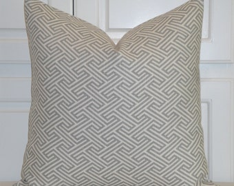 Linen Maze Greek Key - Decorative Pillow Cover - - Geometric - Grey and Ivory - Cushion Cover - Chair Pillow