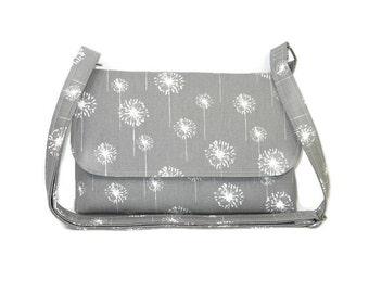 Small Gray Dandelion Purse, Gray Crossbody Bag for Women, Fabric Pocketbook, Small Cross Body Handbag, Adjustable Strap and Pockets